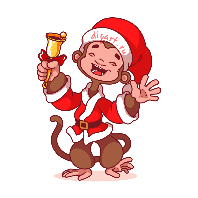monkey with christmas bell