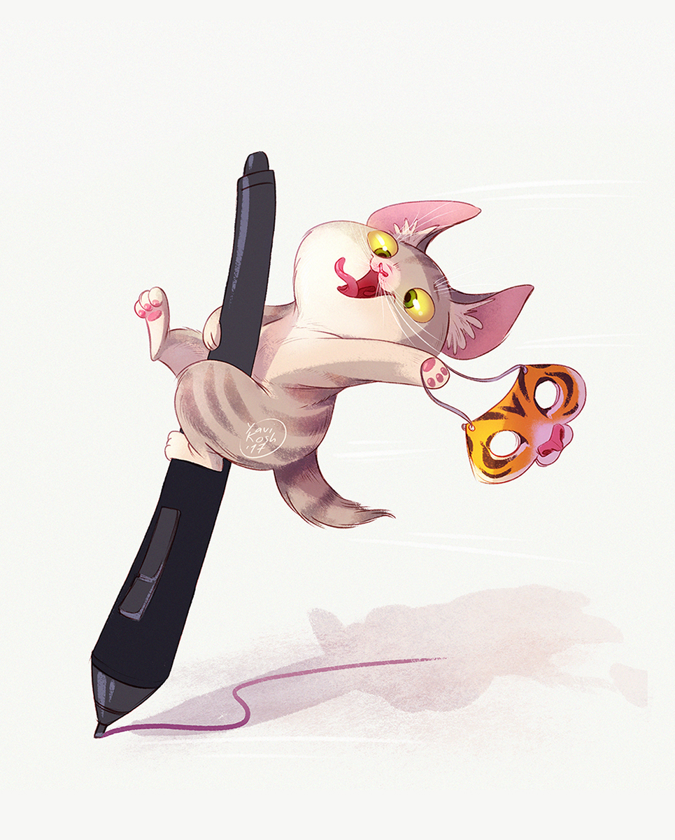 crazy kitten on the stylus