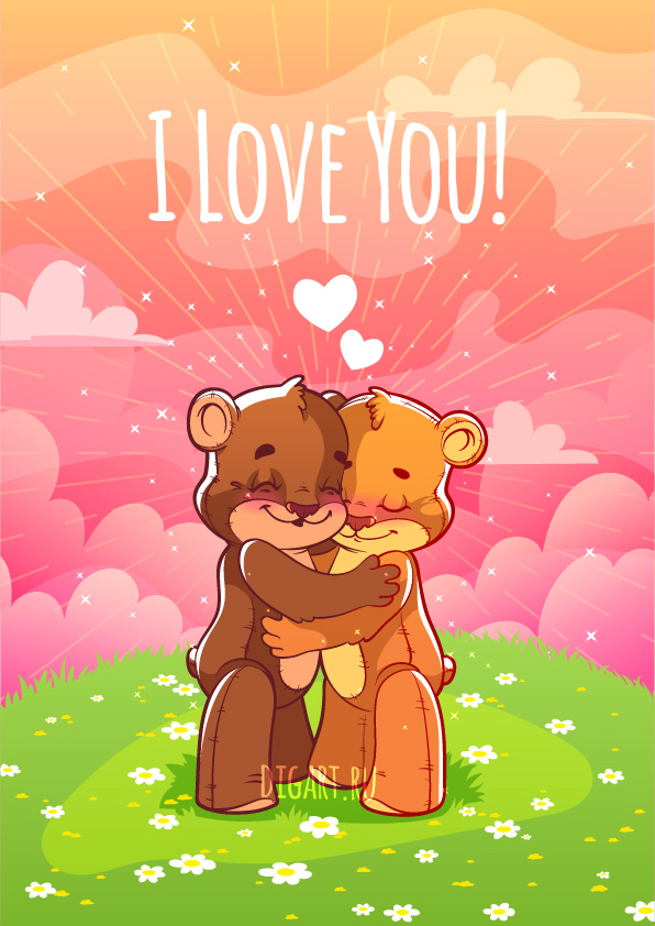 card for valentine's day with two cute bear