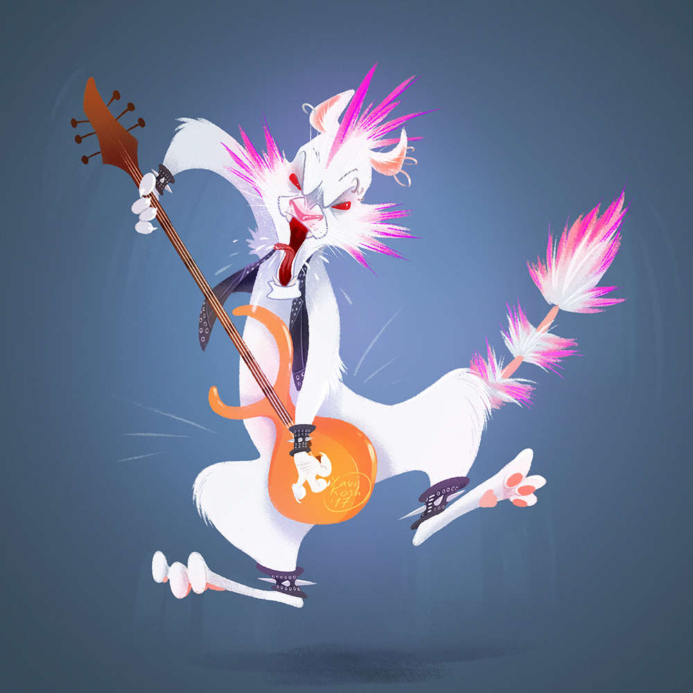 punk cat with guitar
